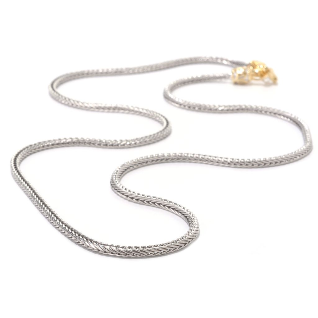 126-002 - Gems en Vogue Two-tone Wheat Chain Necklace w/ Twist-Off Clasp