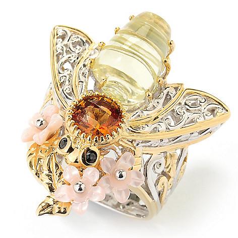 126-005 - Gems en Vogue 12 x 8mm Carved Ouro Verde & Multi Gemstone Bee Ring