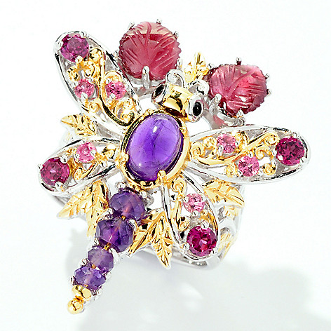 126-006 - Gems en Vogue 4.51ctw Amethyst & Multi Gemstone Dragonfly Ring
