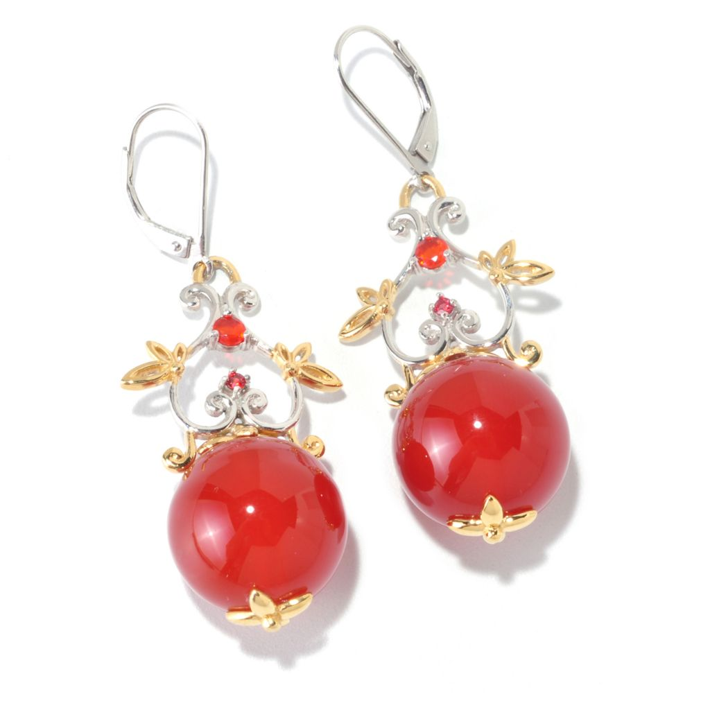 "126-011 - Gems en Vogue 16mm Carnelian, Orange Fire Opal & Sapphire 2"" Drop Earrings"