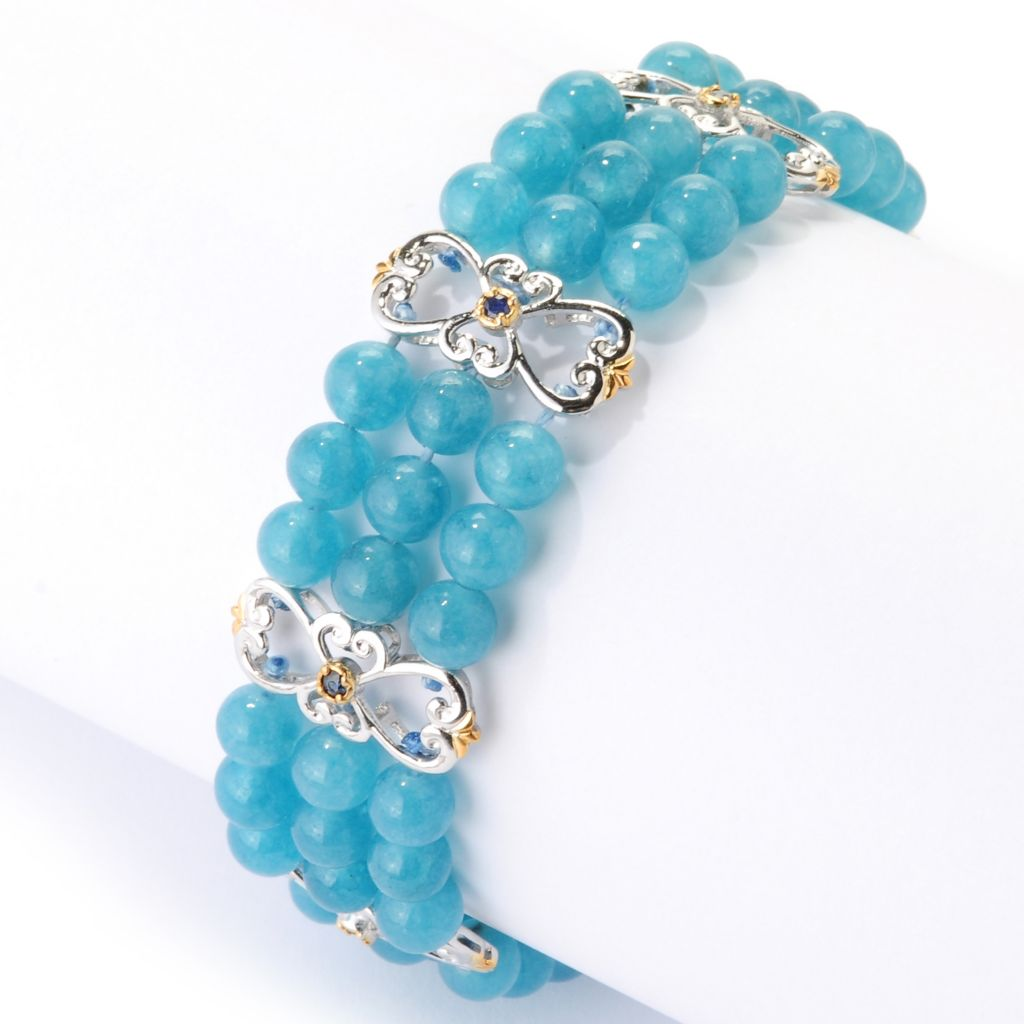 126-012 - Gems en Vogue Three-row Beryl Bead & Sapphire Fancy Station Link Bracelet