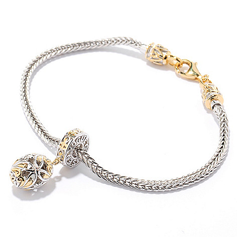 126-022 - Gems en Vogue Two-tone Wheat Chain Starter Bracelet w/ Removable Charm