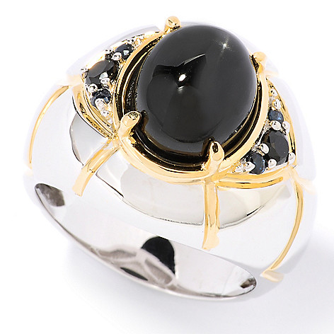 126-025 - Men's en Vogue II 12mm x 10mm Oval Black Star Diopside, Spinel & Sapphire Ring