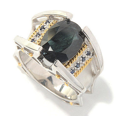126-026 - Men's en Vogue II Black & Blue Sapphire Matte Finished Ring