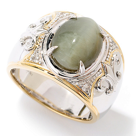 126-028 - Men's en Vogue II 2.79ctw Green Cat's Eye Opal & White Sapphire Ring