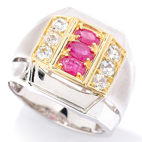 126-030 - Men's en Vogue 1.74ctw Ruby & White Topaz Ring