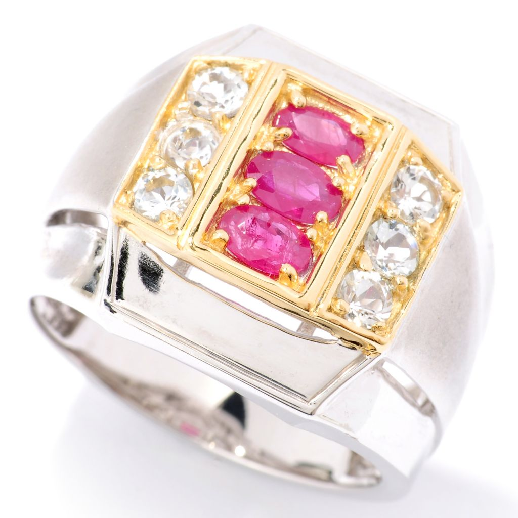 126-030 - Men's en Vogue II 1.74ctw Ruby & White Topaz Ring