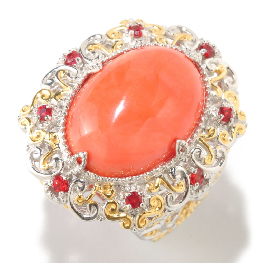 126-033 - Gems en Vogue 12.17ctw Bamboo Coral & Orange Sapphire Ring