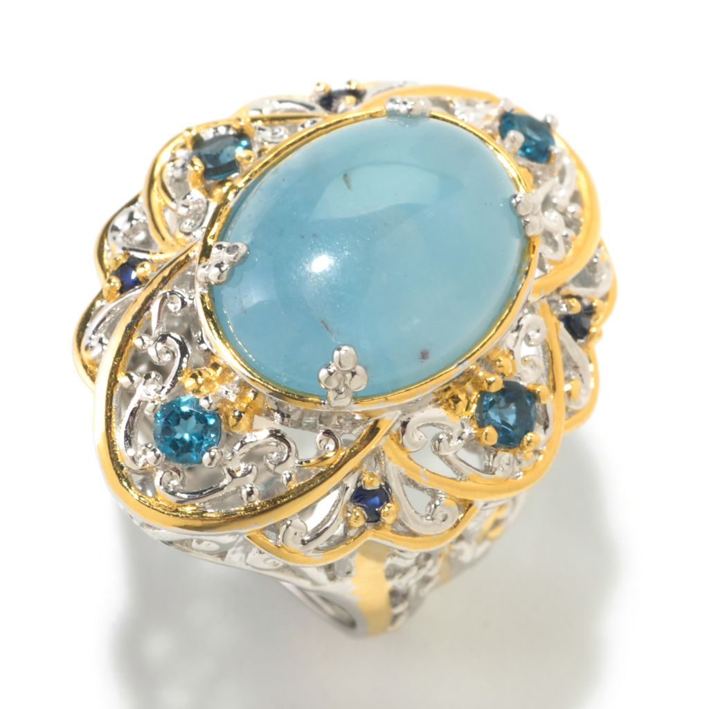 126-035 - Gems en Vogue 16mm x 12mm Oval Aquamarine Cabochon & London Blue Topaz Ring