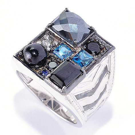 126-036 - Men's en Vogue 5.97ctw Multi Gemstone ''Manhattan'' Ring