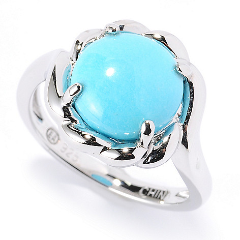 126-067 - Gem Insider® Sterling Silver 10mm Sleeping Beauty Turquoise Rope Ring