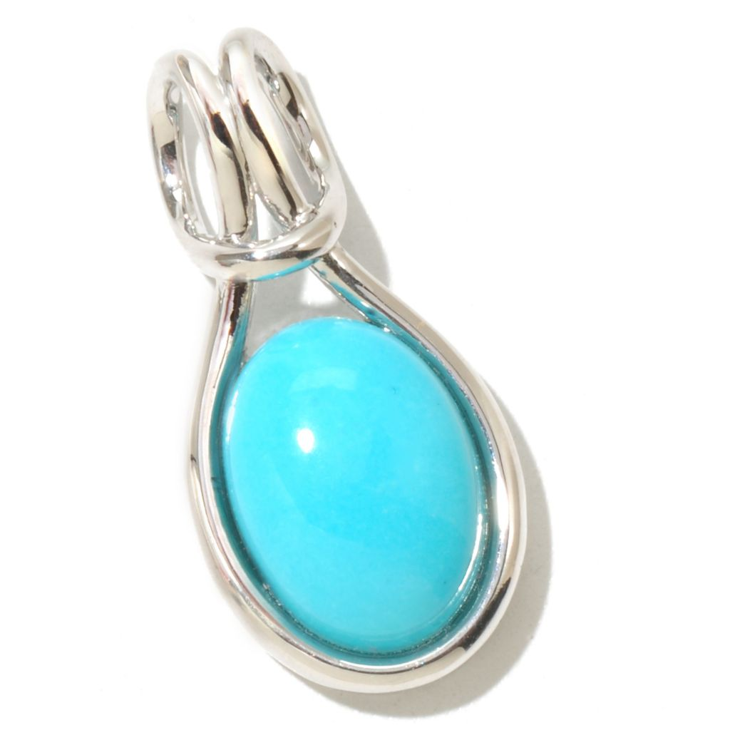 126-071 - Gem Insider Sterling Silver 10 x 14mm Sleeping Beauty Turquoise Oval Pendant