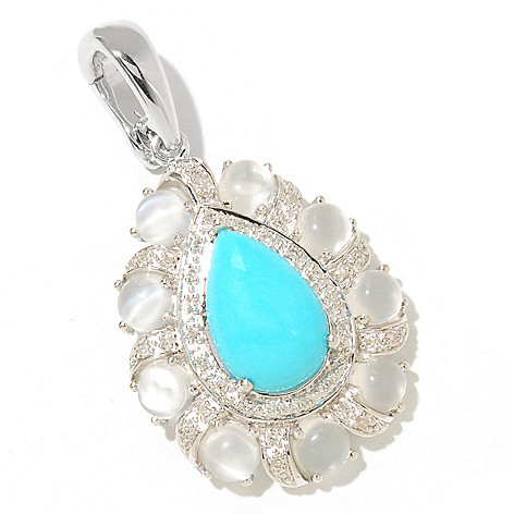 126-075 - Gem Insider Sterling Silver 12 x 8mm Sleeping Beauty Turquoise & Multi Gemstone Pendant