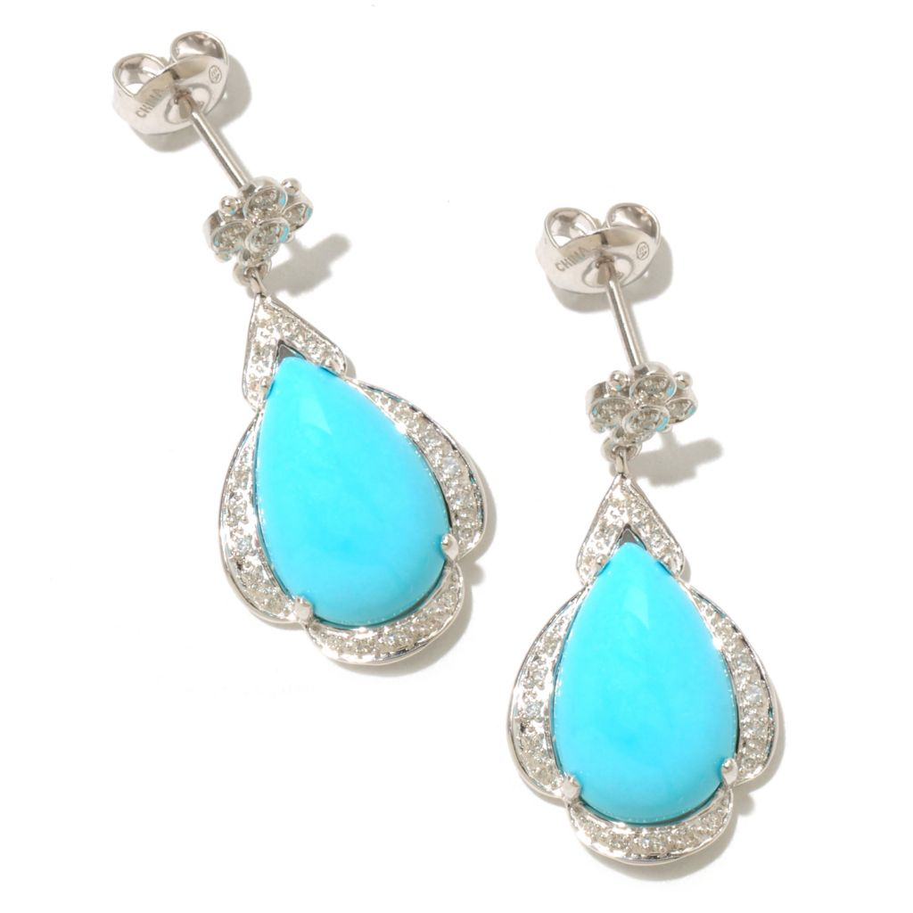 "126-077 - Gem Insider Sterling Silver 1"" 15 x 9mm Sleeping Beauty Turquoise & Diamond Earrings"