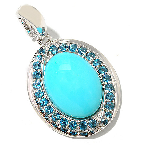 126-080 - Gem Insider Sterling Silver 16 x 12mm Sleeping Beauty Turquoise & Blue Topaz Pendant