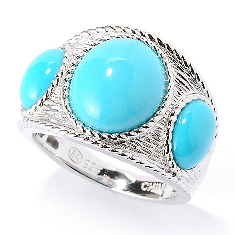 126-082 - Gem Insider™ Sterling Silver Sleeping Beauty Turquoise Three-Stone Ring