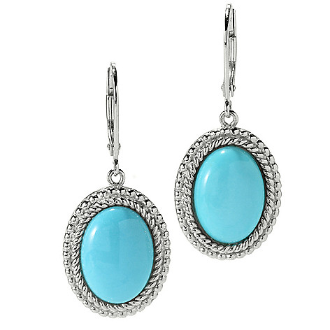 126-084 - Gem Insider™ 1.25'' Sterling Silver 14 x 10mm Sleeping Beauty Turquoise Halo Drop Earrings