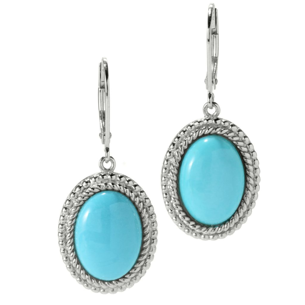 "126-084 - Gem Insider 1.25"" Sterling Silver 14 x 10mm Sleeping Beauty Turquoise Halo Drop Earrings"