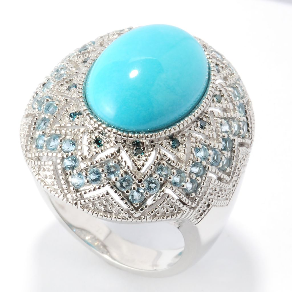 126-086 - Gem Insider Sterling Silver 14 x 10mm Sleeping Beauty Turquoise & Multi Gemstone Ring