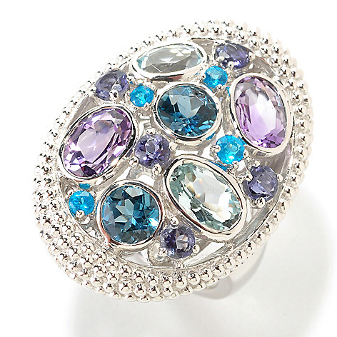 126-090 - Gem Insider™ Sterling Silver Multi Gemstone Beaded Frame Oval Ring