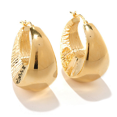 126-120 - Scintilloro™ Gold Embraced™ Diamond Cut Polished Graduated Hoop Earrings