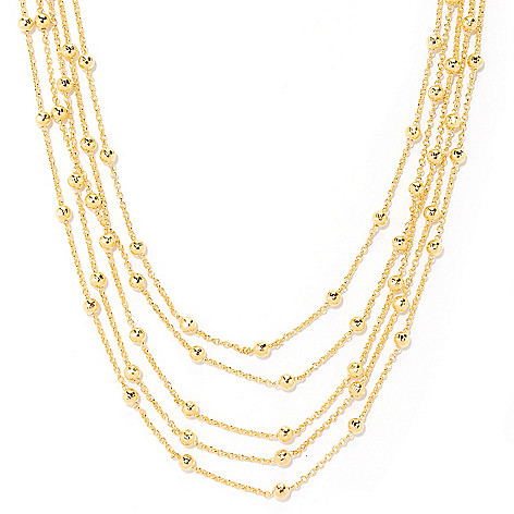 126-122 - Scintilloro™ Gold Embraced™ 18'' Multi-Strand Station Necklace w/ 2'' Extender