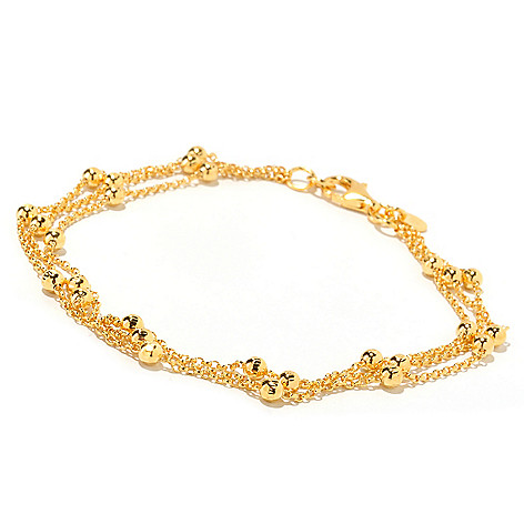 126-123 - Scintilloro[ Gold Embraced[ Three-Strand Diamond Cut Station Anklet