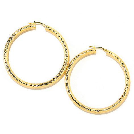 126-128 - Scintilloro™ Gold Embraced™ 2'' Diamond Cut Runway Hoop Earrings