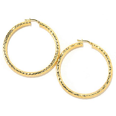 126-128 - Scintilloro™ Gold Embraced™ 2'' Diamond Cut Runway Hoop Earrings