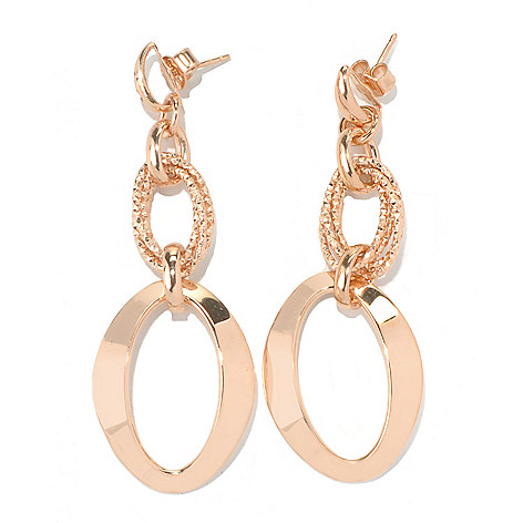 126-133 - Scintilloro™ Gold Embraced™ Diamond Cut Polished Marquise Dangle Earrings