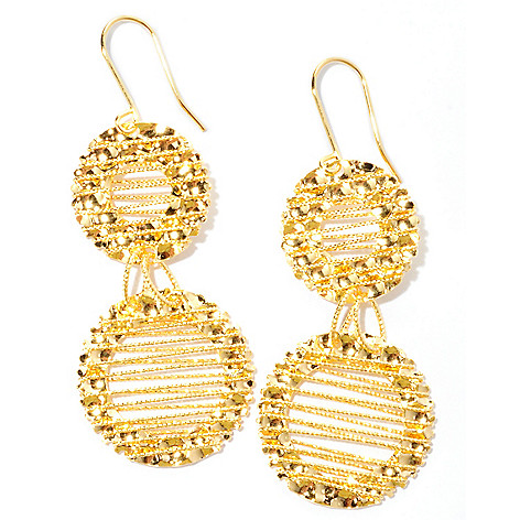 126-139 - Scintilloro™ Gold Embraced™ Wire Wrapped Double Drop Earrings