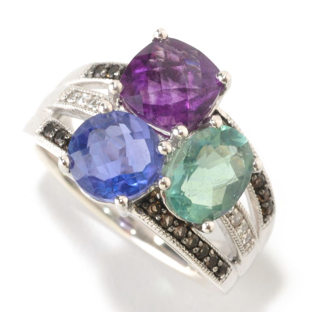 126-144 - Gem Insider 4.22ctw Multi Color Fluorite, Quartz & White Sapphire Ring