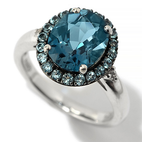 126-146 - Gem Insider™ Sterling Silver 2.83ctw Multi Blue Topaz & White Sapphire Halo Ring