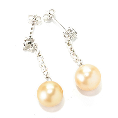 126-151 - Sterling Silver 1.25'' 9-10mm South Sea Cultured Pearl & Topaz Drop Earrings