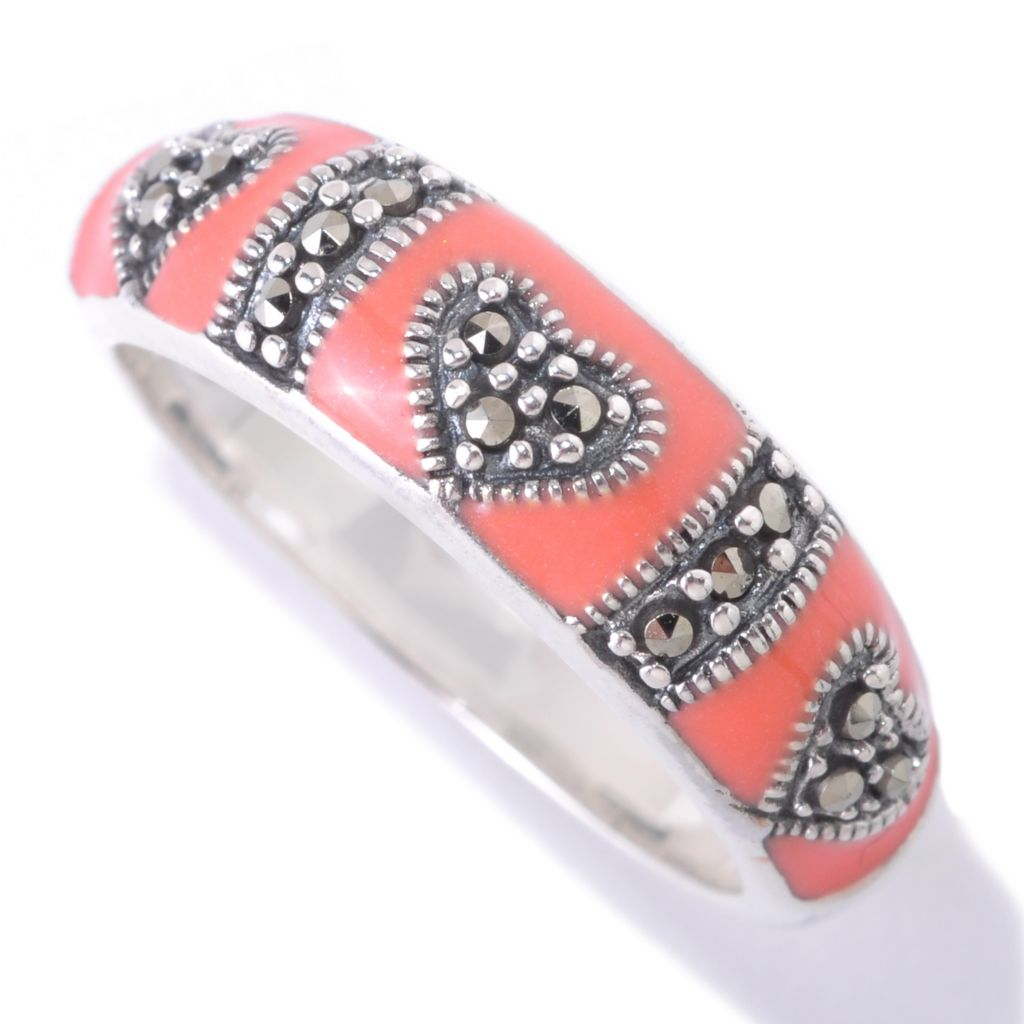 126-152 - Dallas Prince Sterling Silver Enamel Band Ring Made w/ Swarovski® Marcasite