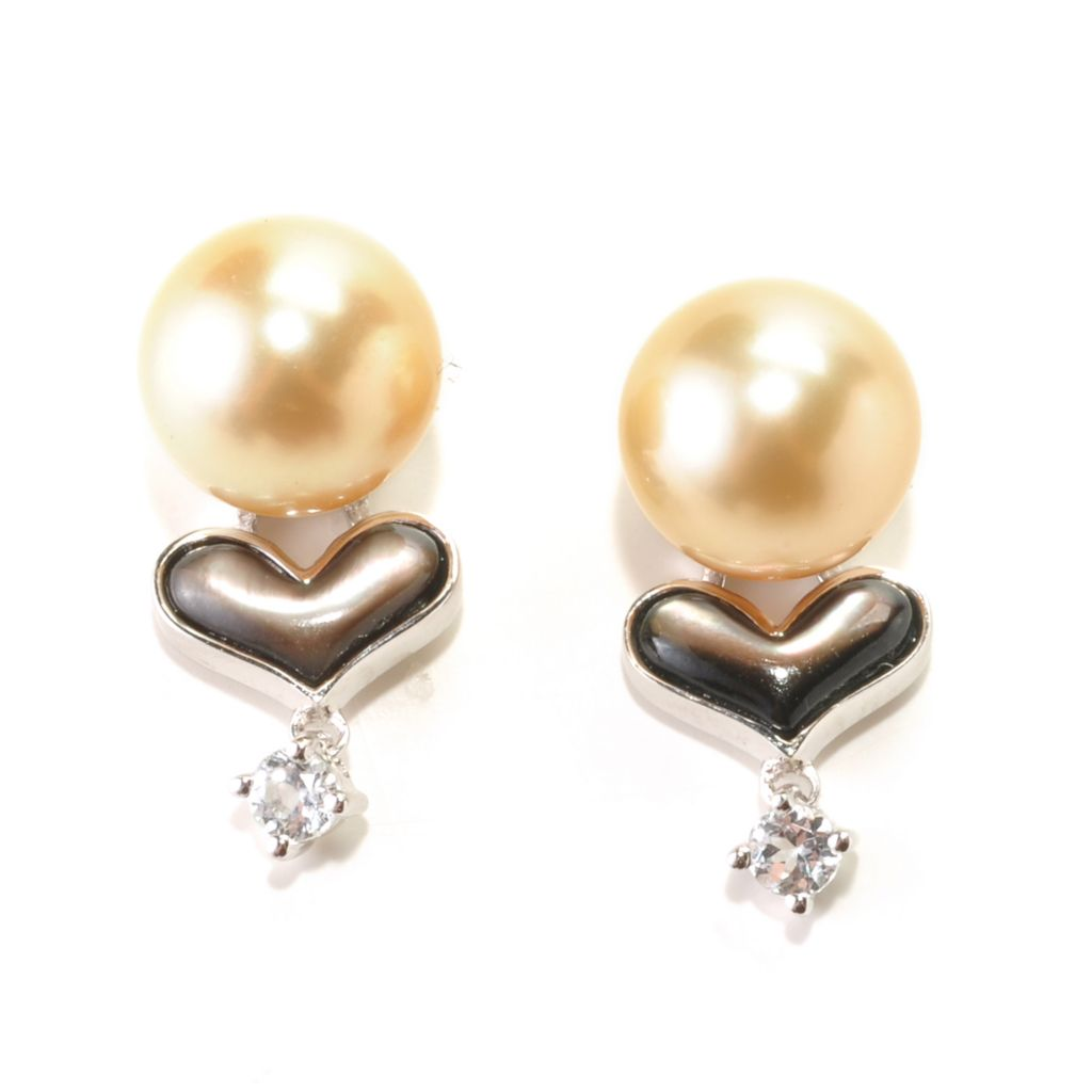 126-163 - Sterling Silver 9-10mm Semi-Round Golden Cultured South Sea Pearl & Gem Earrings