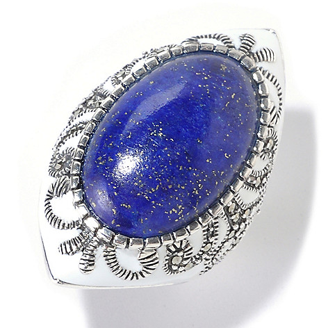 126-164 - Dallas Prince Sterling Silver Oval Lapis Ring Made w/ Swarovski® Marcasite