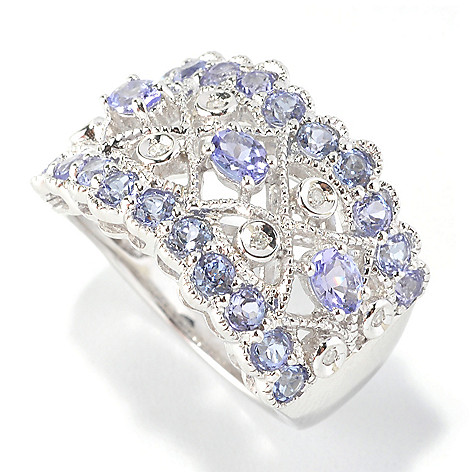126-187 - Gem Insider Sterling Silver 1.29ctw Tanzanite & Diamond Wide Band Ring