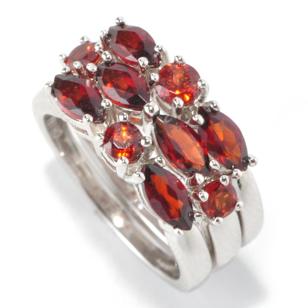 126-200 - Gem Insider Set of Three Sterling Silver 2.50ctw Garnet Stack Rings