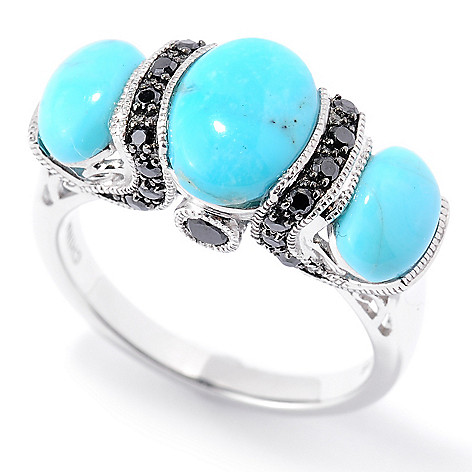 126-221 - Gem Insider™ Sterling Silver 9x7mm Oval Kingman Turquoise & Spinel Ring