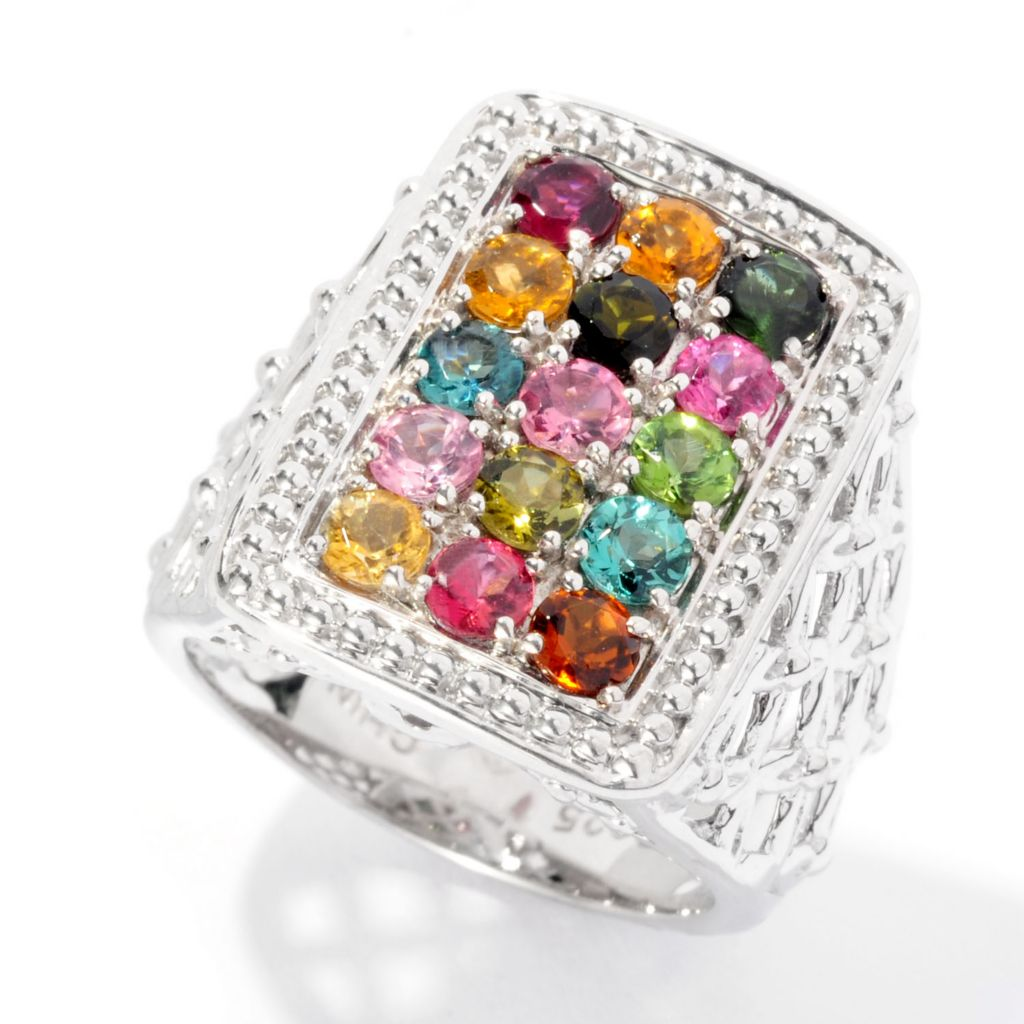126-269 - Gem Insider Sterling Silver 1.32ctw Multi Color Tourmaline Rectangle Ring