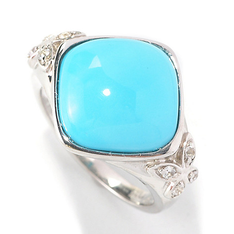 126-273 - Gem Insider Sterling Silver 12mm Square Sleeping Beauty Turquoise Ring