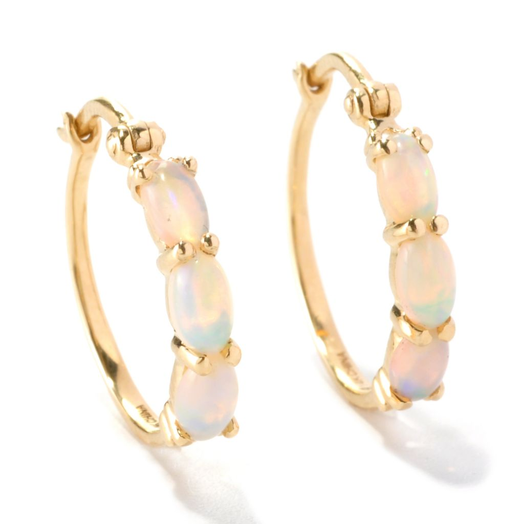 126-274 - Gem Insider 14K Gold 5 x 3mm Ethiopian Opal Three-Stone Hoop Earrings