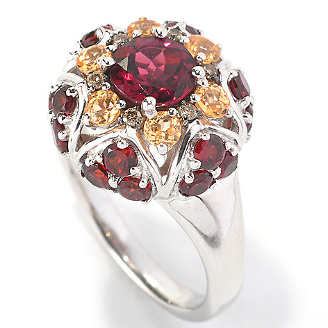 126-276 - Gem Insider Sterling Silver 2.44ctw Garnet & Mocha Diamond Flower Ring