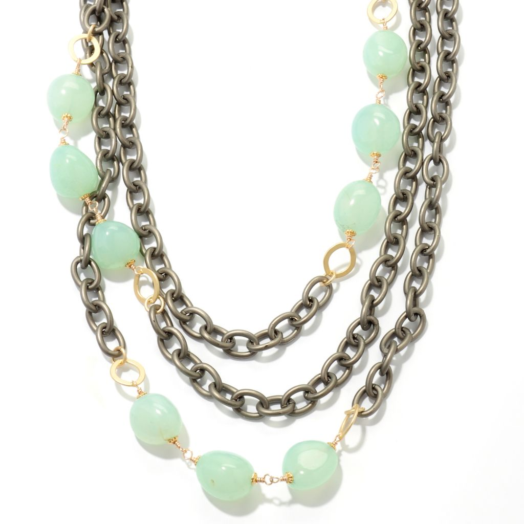 "126-280 - mariechavez 20"" Chalcedony Multi Strand Chunky Cable Link Necklace w/ Extender"
