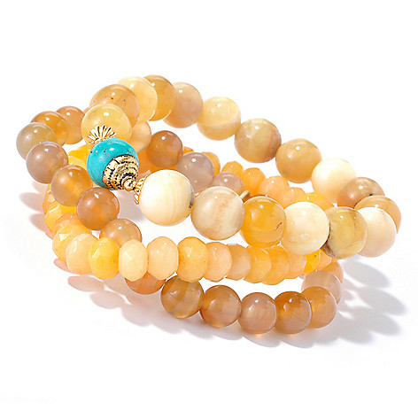 126-289 - mariechavez Set of Three 6.25'' Gemstone Beaded Bracelets