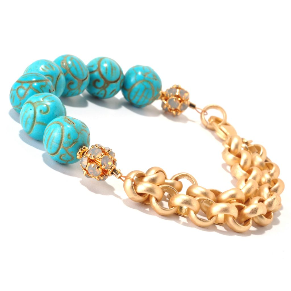 126-291 - mariechavez Magnesite Beaded Bracelet Made w/ Swarovski® Elements