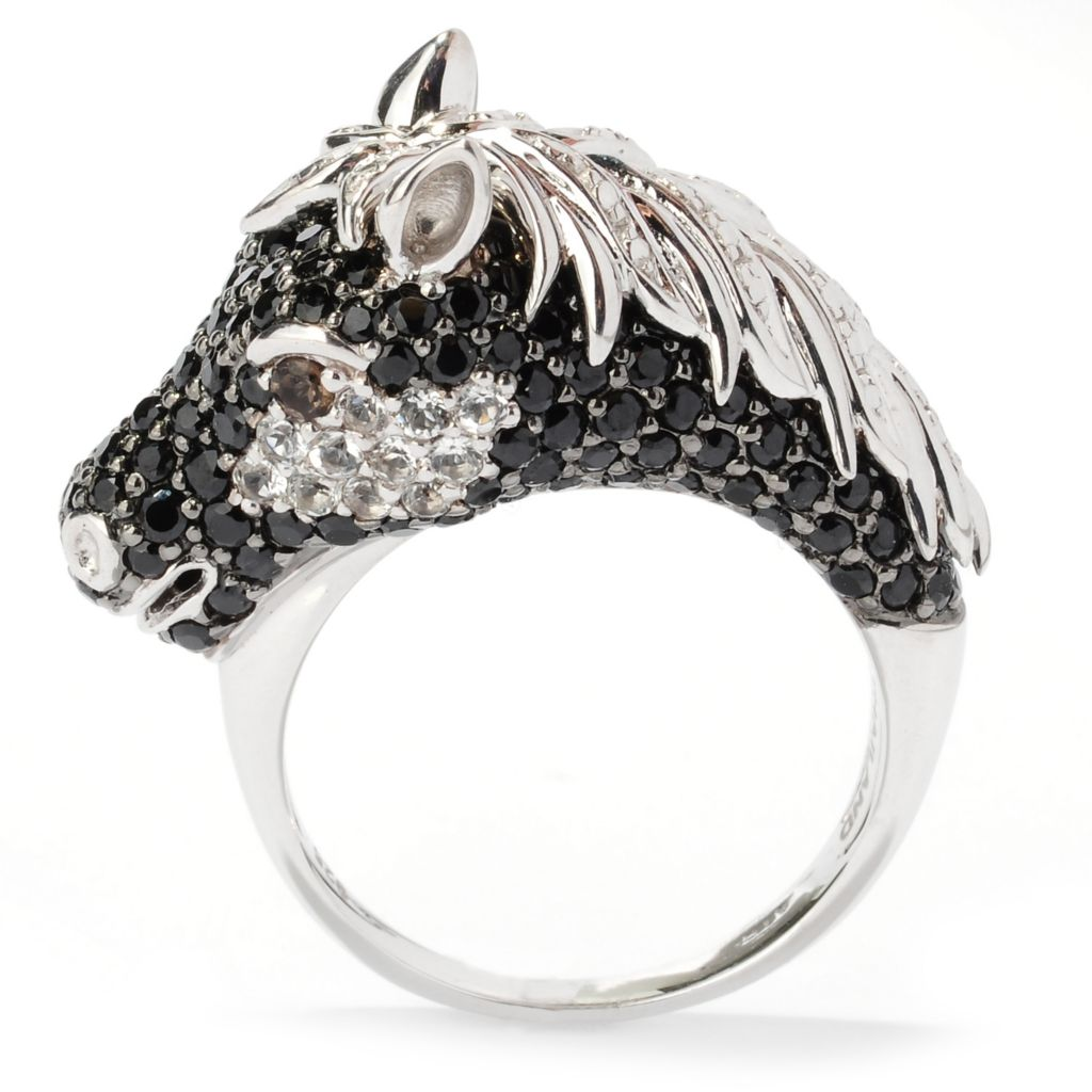 126-318 - NYC II 2.80ctw Multi Gemstone Pave Set Black Stallion Ring