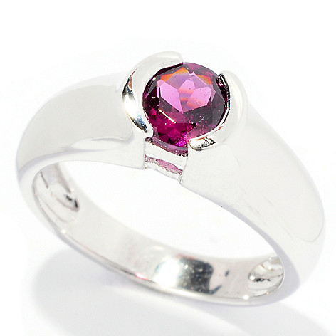 126-321 - Gem Insider™ Sterling Silver Bezel Set Exotic Gemstone Round Ring