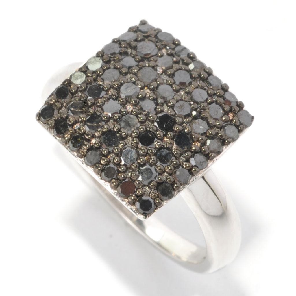 126-358 - Diamond Treasures Sterling Silver 1.00ctw Diamond Square Ring